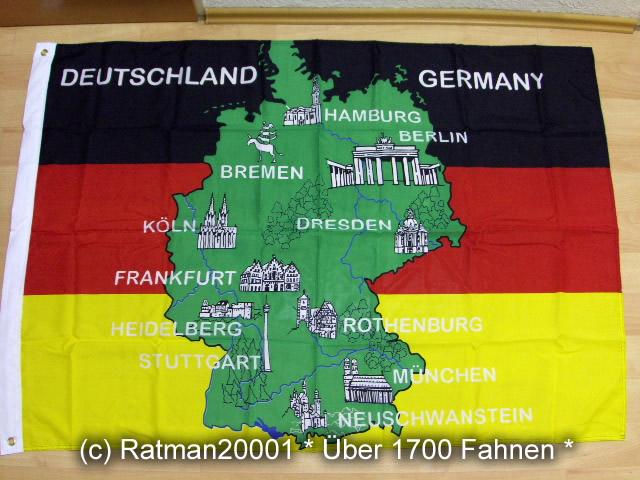 Deutschland mit Ortsnamen - 95 x 135 cm