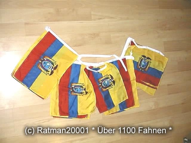 Flaggenkette Ecuador 32 Fahnen 20 Meter Lang