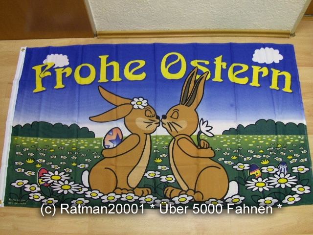 Frohe Ostern Hasen - 90 x 150 cm