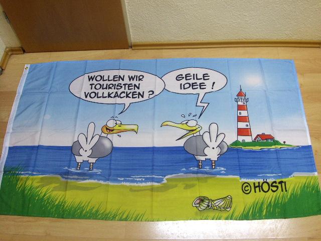 Hösti Wollen Wir Touristen Vollkacken - 90 x 150 cm