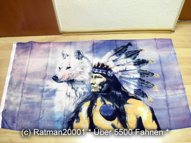 Indianer Wolf Links - 90 x 150 cm