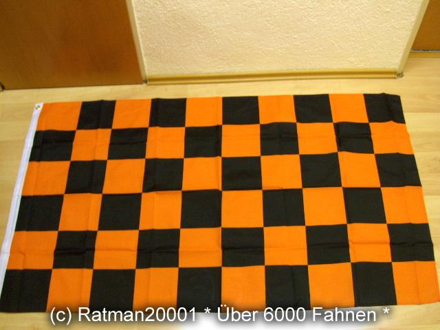 Karo Schwarz Orange NEU - 90 x 150 cm