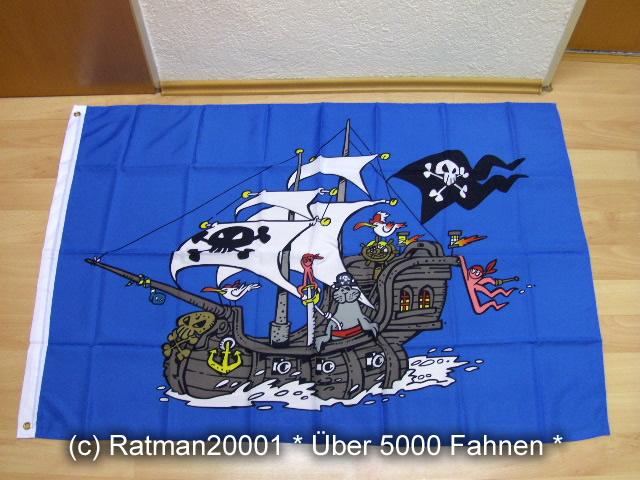 Piratenschiff Blau - 95 x 135 cm