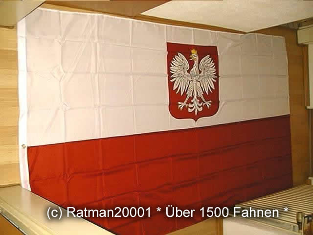 Polen mit Wappen - 1 - 150 x 250 cm