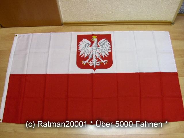Polen mit Wappen - 90 x 150 cm