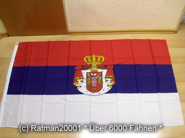 Serbien mit Wappen1 - 90 x 150 cm
