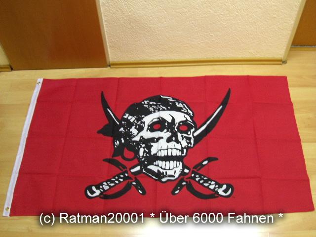 Pirat Totenkopf Rot - 90 x 150 cm
