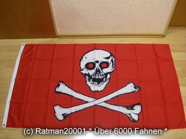 Pirat Totenkopf Rot Rotauge - 90 x 150 cm