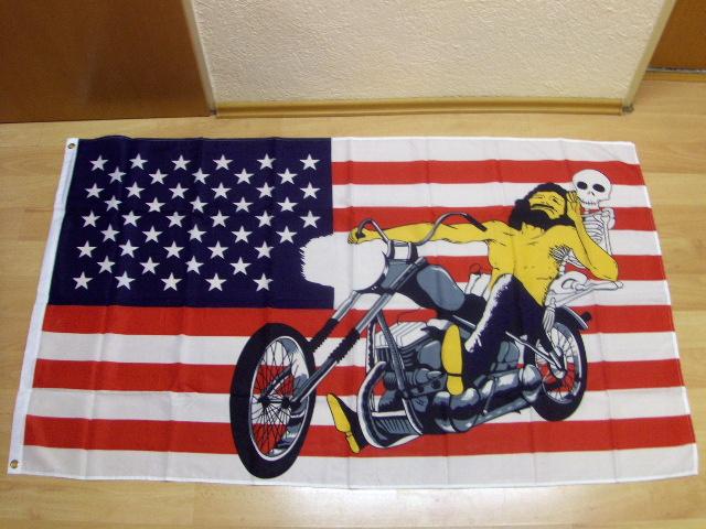 USA Motorrad Skelett Easy Rider - 90 x 150 cm