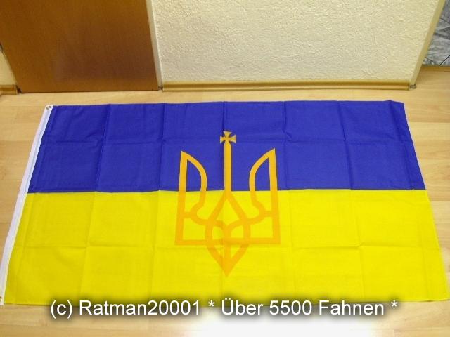 Ukraine mit Wappen - 90 x 150 cm