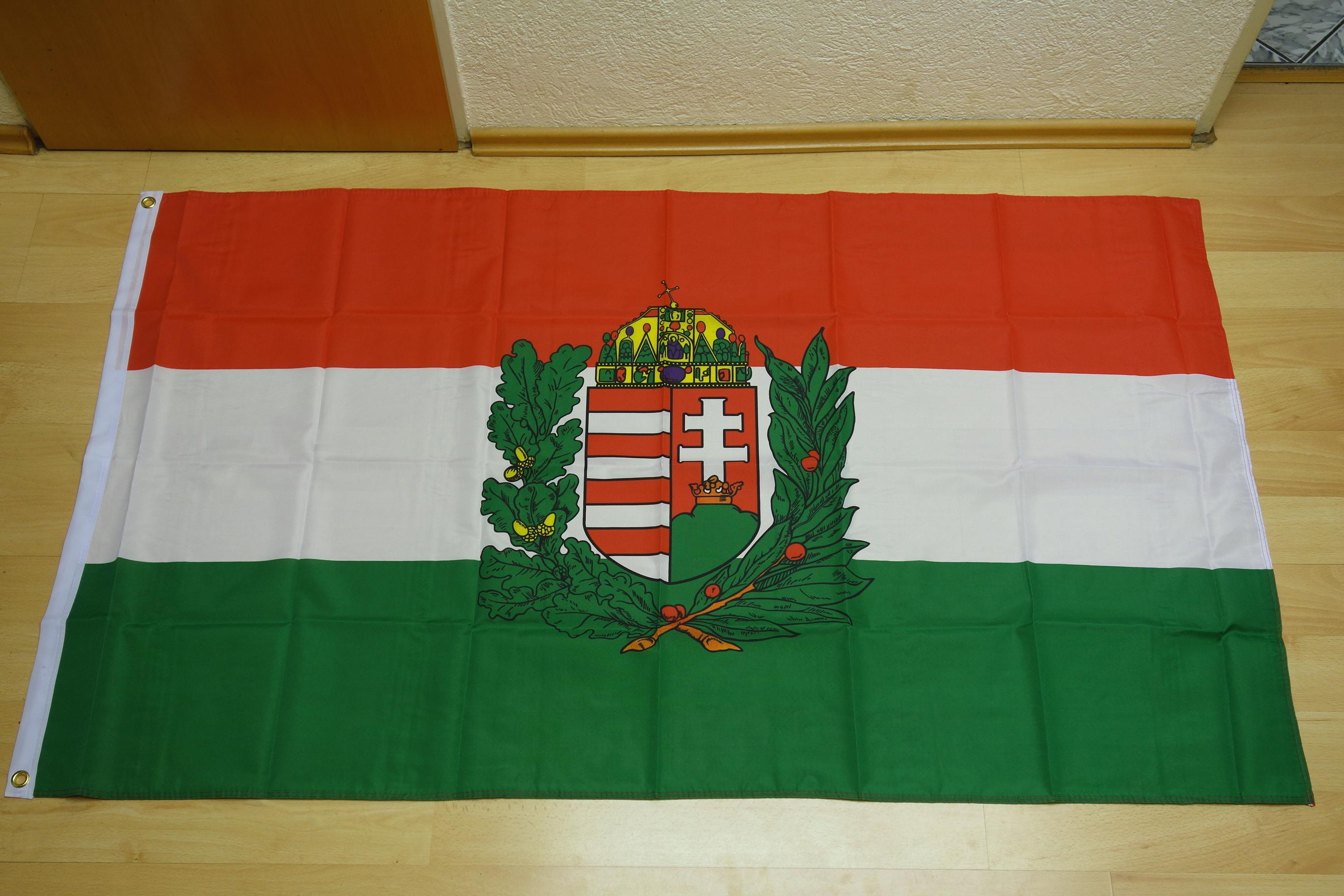 Ungarn mit Wappen - 90 x 150 cm
