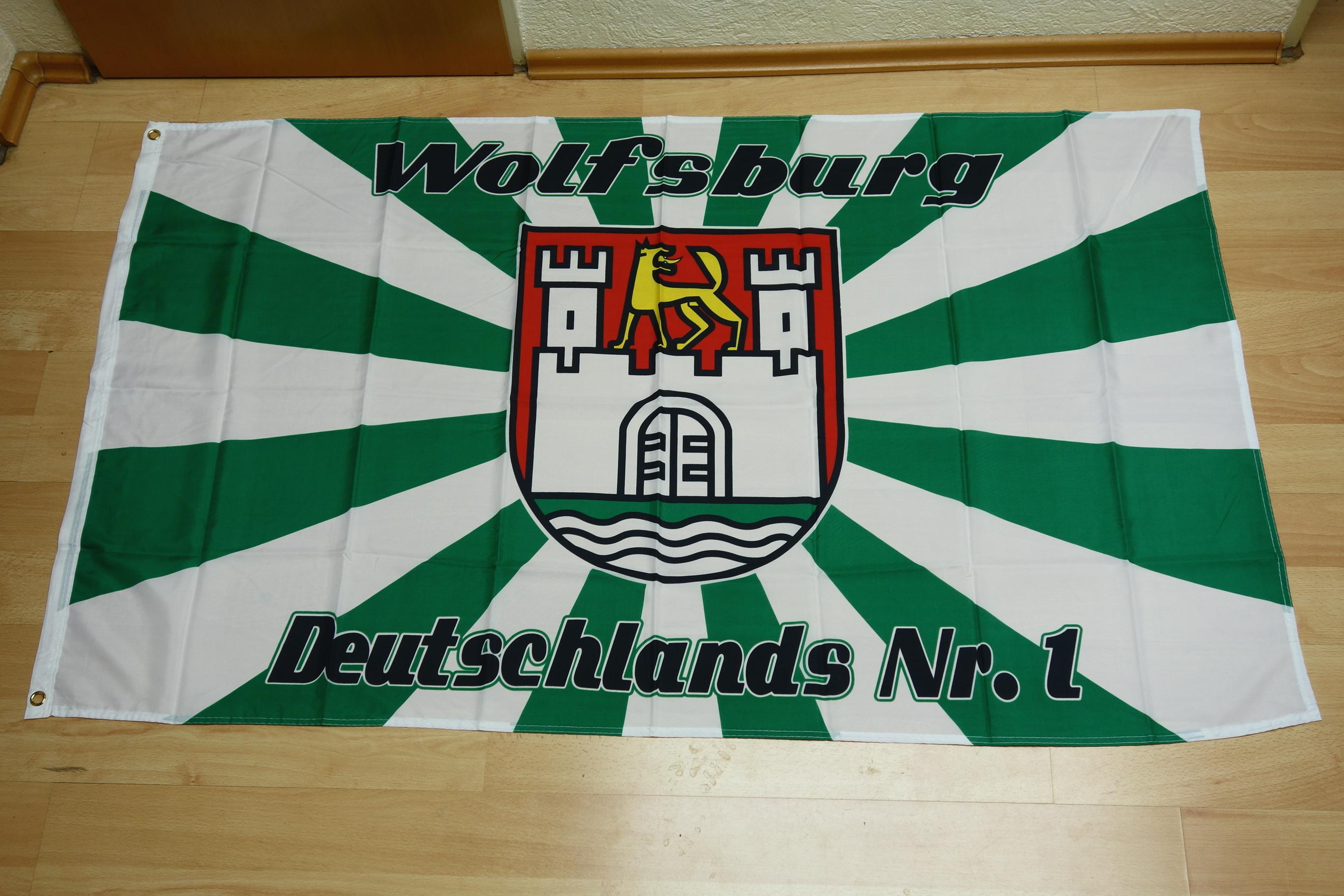 Wolfsburg Nr1 Fan Fahne - 90 x 150 cm